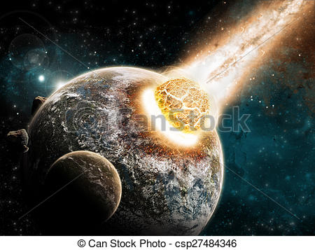 Drawing of Meteorite impact on a planet in space.