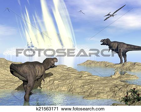 Clipart of End of dinosaurs due to meteorite impact in Yucatan.