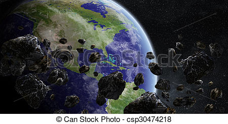 Clipart of Meteorite impact on planet Earth in space.