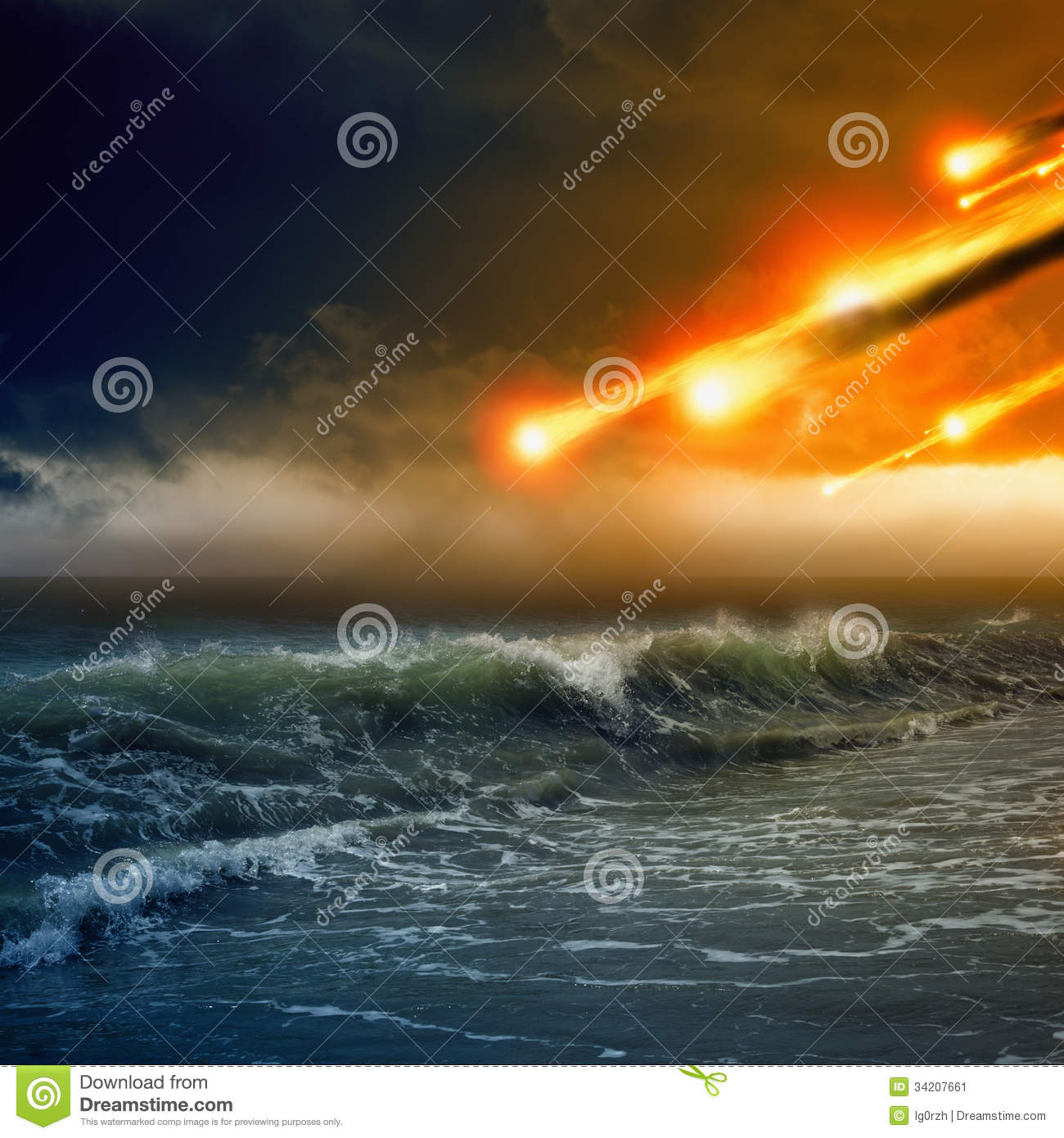 Asteroid, Meteorite Impact Stock Photography.