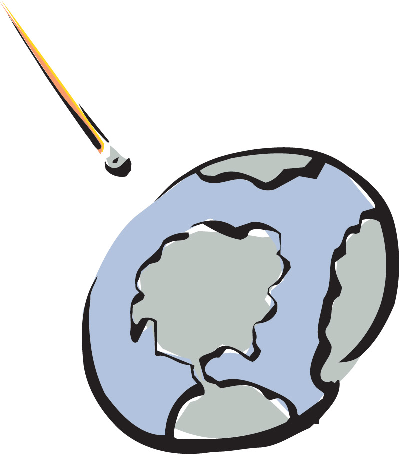 Animated meteor hitting earth clipart.