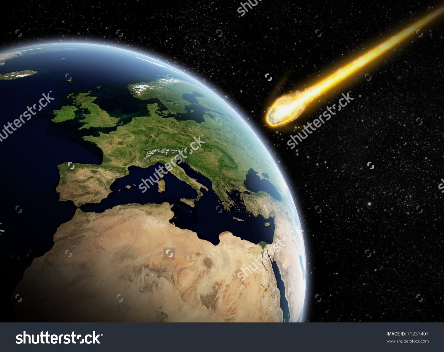 Asteroid Earth Meteor Impact Stock Illustration 71231407.