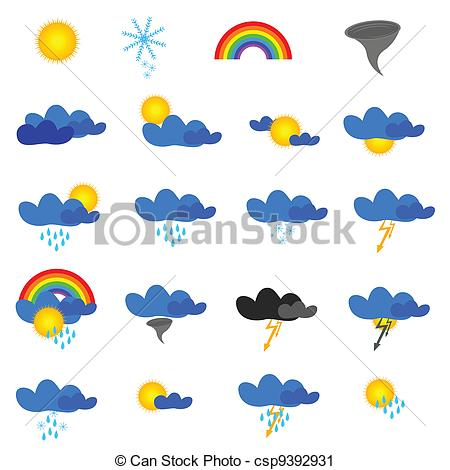 Vector Clip Art of weather symbol vector illustration on white.