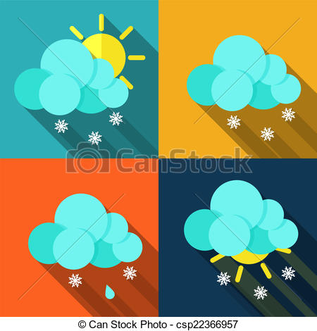 Clipart Vector of Meteorology weather icons with modern design.