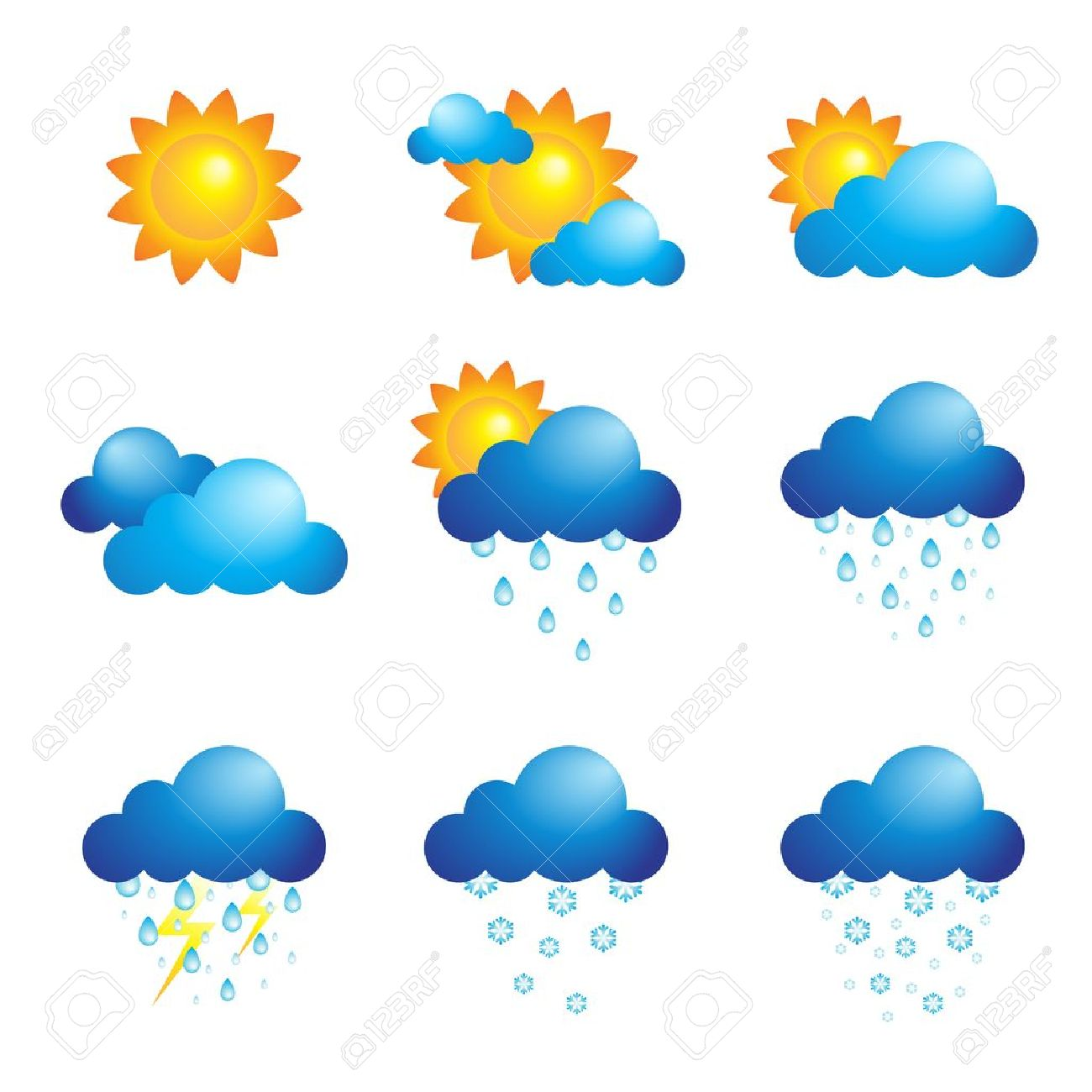A Vector Illustration Of Different Weather Icons Royalty Free.