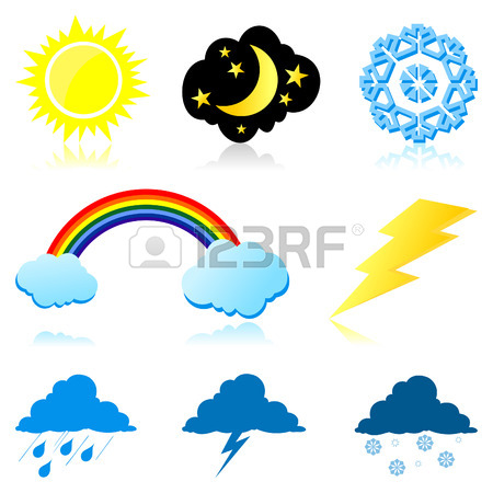 Icons Of The Weather Phenomena. Royalty Free Cliparts, Vectors.