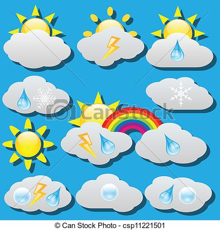 Vector Clipart of Weather icons.
