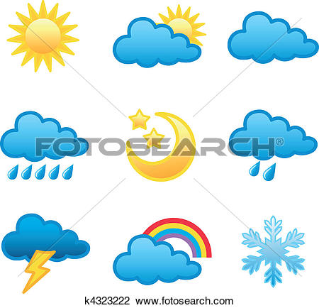 Clipart of weather icons k4323222.