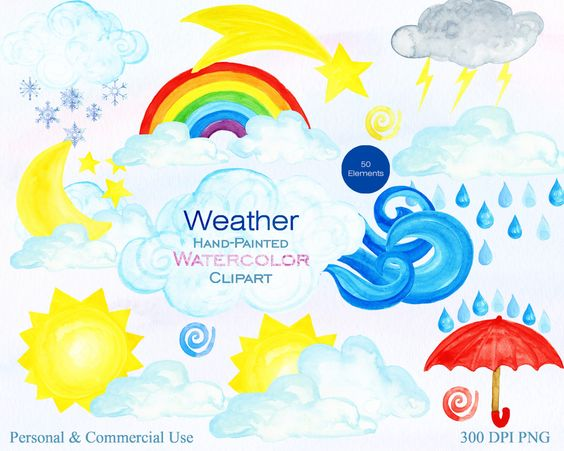 WATERCOLOR WEATHER Clipart for Commercial Use Watercolor Cloud.