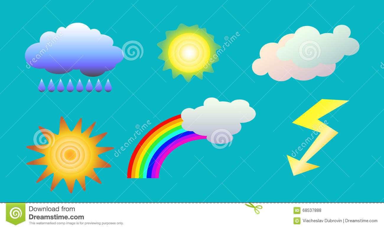 Weather Objects Clip Art. Illustration Of Clouds, Sun, Rainbow.