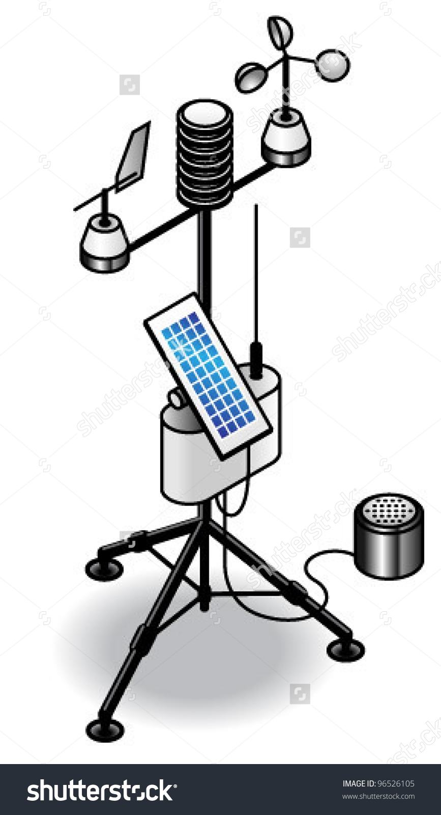 Transportable Weather Station Solar Panel Antenna Stock Vector.