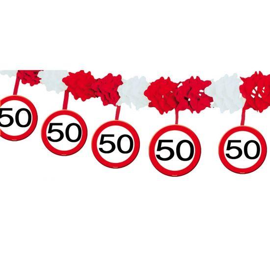 Verkeersbord verjaardagsslinger 50 jaar. Deze verkeersbord slinger.