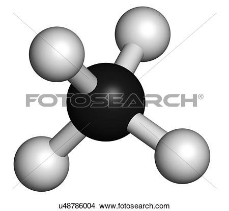 Drawings of Methane natural gas molecule u48786004.