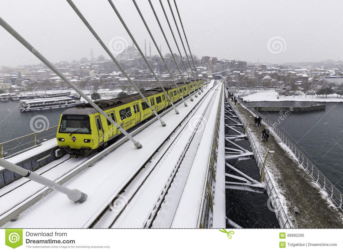 Halic Metro Bridge Editorial Stock Photo.