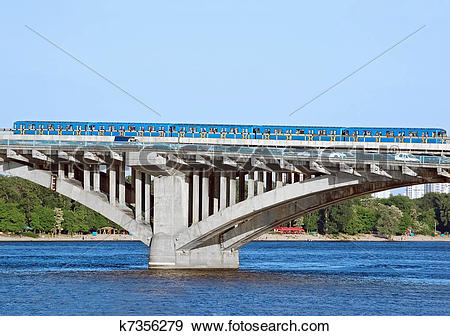 Stock Photograph of Metro bridge with subway train k7356279.