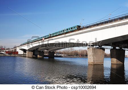 Stock Photographs of Metro train on a bridge csp10002694.