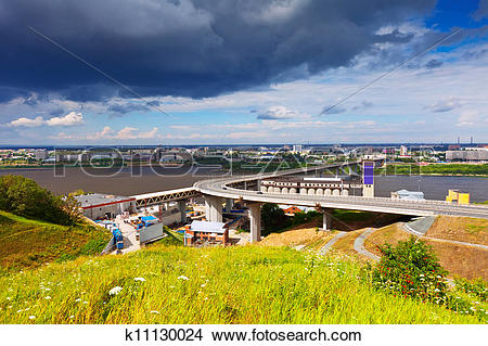 Stock Photo of Metro Bridge through Oka River k11130024.