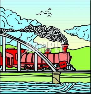 Colorful Cartoon of a Metro Train Crossing Over Water on a Bridge.