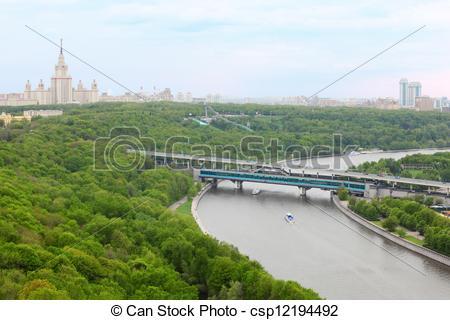 Stock Photographs of Moscow River, Luzhnetsky Bridge (Metro Bridge.