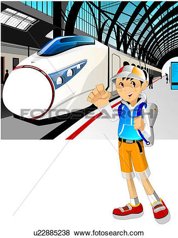 Stock Illustrations of Travelers standing at metro station.