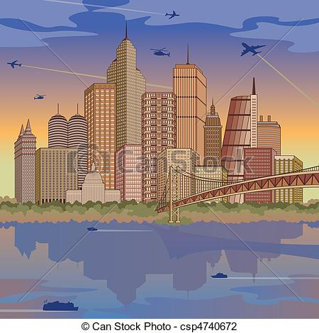 Vector Illustration of International Metropolis.