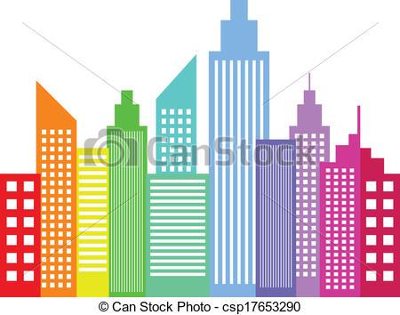 Vettori EPS di arcobaleno, moderno, colorato, città.