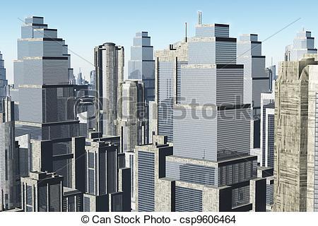 Disegno di metropoli, 01, render, 3D.