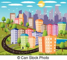 Vector Illustration of Modern city metropolis.
