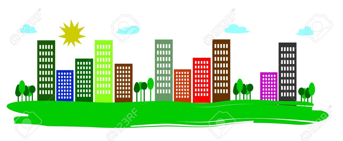 Metropoli Urbano Con Grattacieli Su Sfondo Bianco Clipart Royalty.