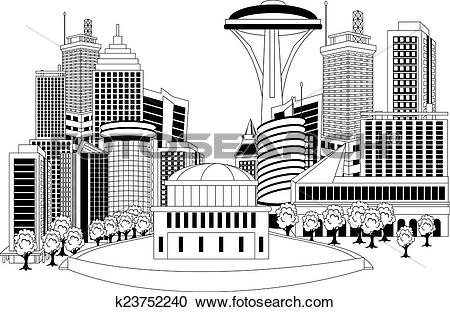 Clipart of Modern city metropolis k23752240.