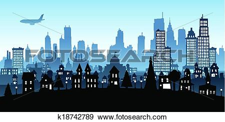 Clip Art of Cartoon Metropolis k18742789.