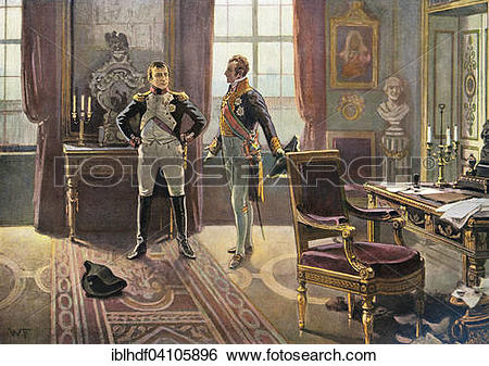 Stock Images of Napoleon with Prince Metternich at the meeting in.