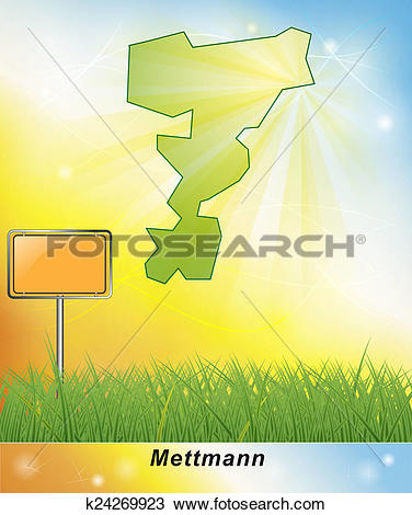 Drawing of Map of Mettmann k24269923.