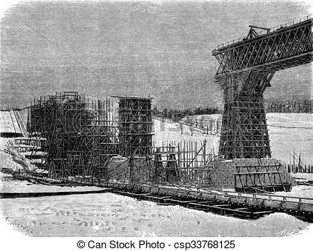 Clip Art of Pont de Metz, vintage engraving..