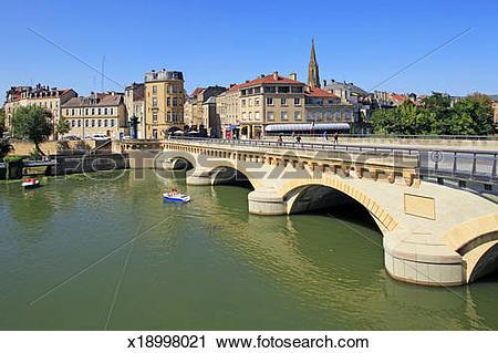 Stock Photography of Metz, France, Temple Neuf, Moyen Pont.
