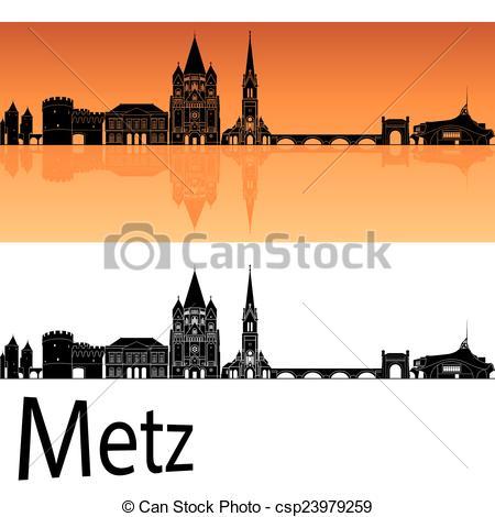Clipart Vector of Metz skyline in orange background in editable.
