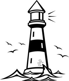 lighthouse clipart outline #11