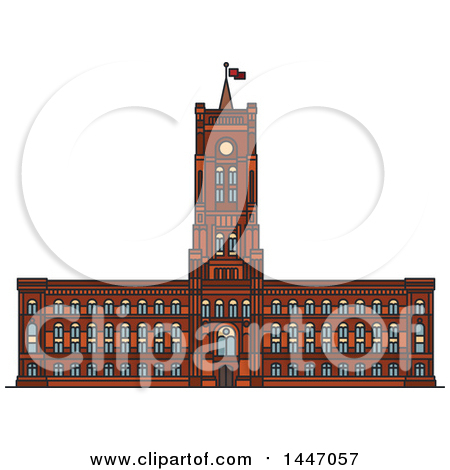 Clipart of a Line Drawing Styled German Landmark, Rotes Rathaus.