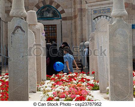 Stock Images of Mevlana museum mosque in Konya, Turkey.