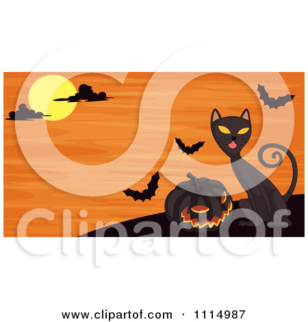 Clipart Black Cat Meowing By A Tombstone.
