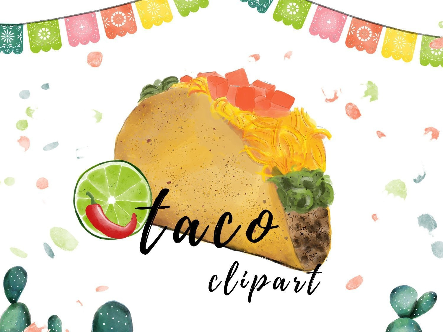 Watercolor Taco Clipart Mexican PNG by turnip on Dribbble.