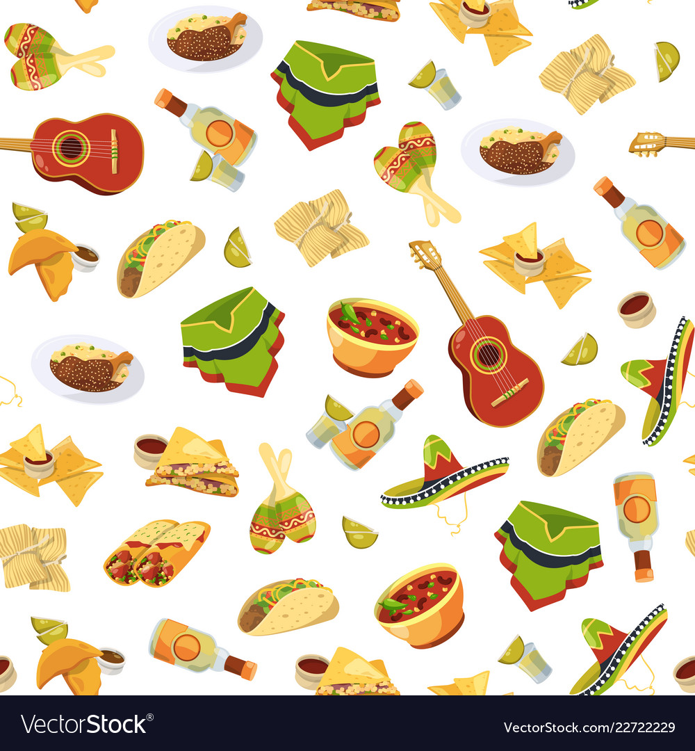 Cartoon mexican food pattern or background.