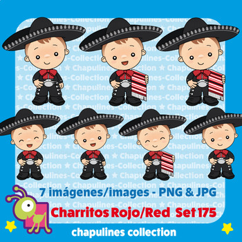 Clipart boys with charro suit, black and red, mexico Set 175.