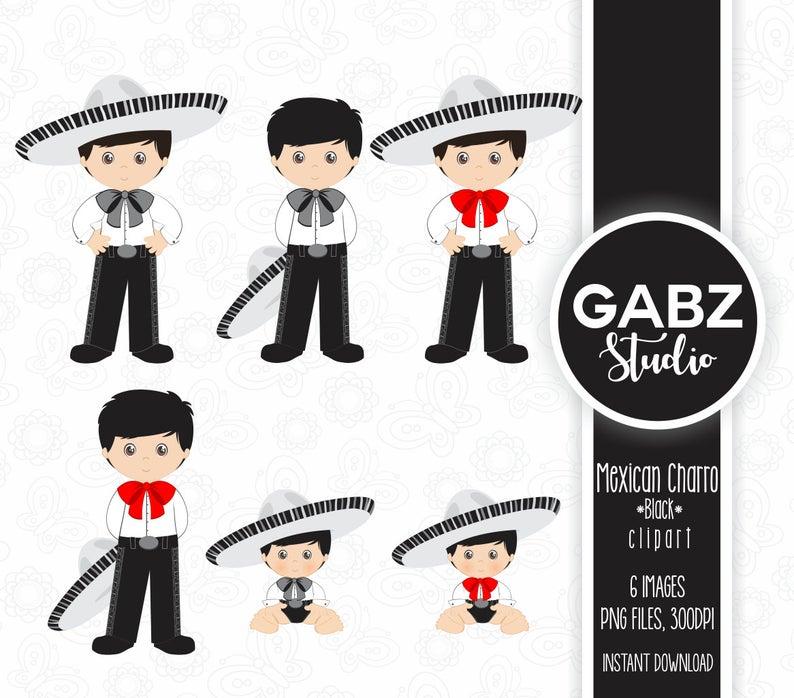 Mexican Charro, Baby Charro, Black Color, Mexican Folklore, Clipart, 5 de  Mayo, Aztec, Decorative, Communion, Mexican, Fiesta, Gabz.