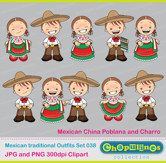 60% off Mexican Outfits Clipart China Poblana and Charro.