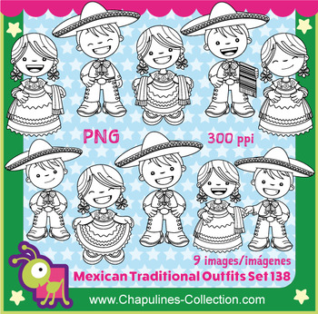 Clipart Mexican Outfits China Poblana and Charro, black & white, Mexico Set  138.
