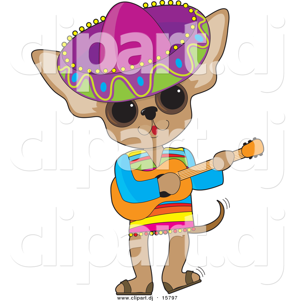 Cartoon Vector Clipart of a Mexican Chihuahua Wearing a.