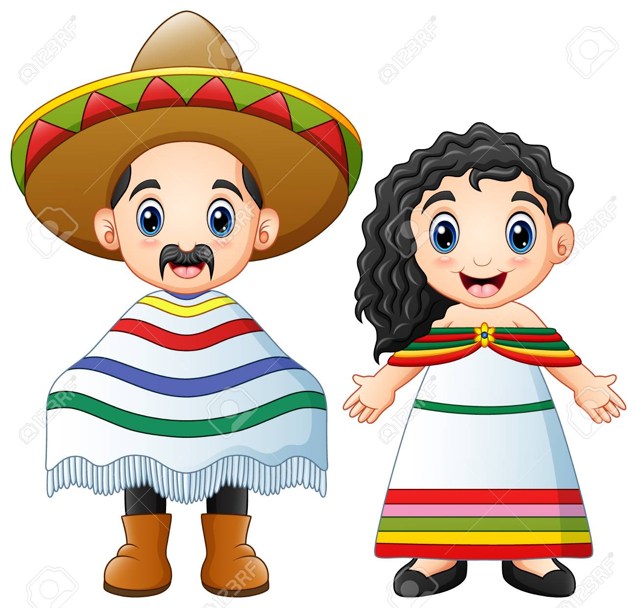 Vector illustration of Cartoon Mexicans couple wearing traditional...
