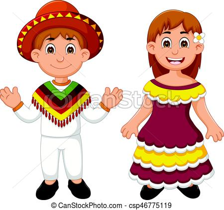 Mexican couple traditional costume cartoon.