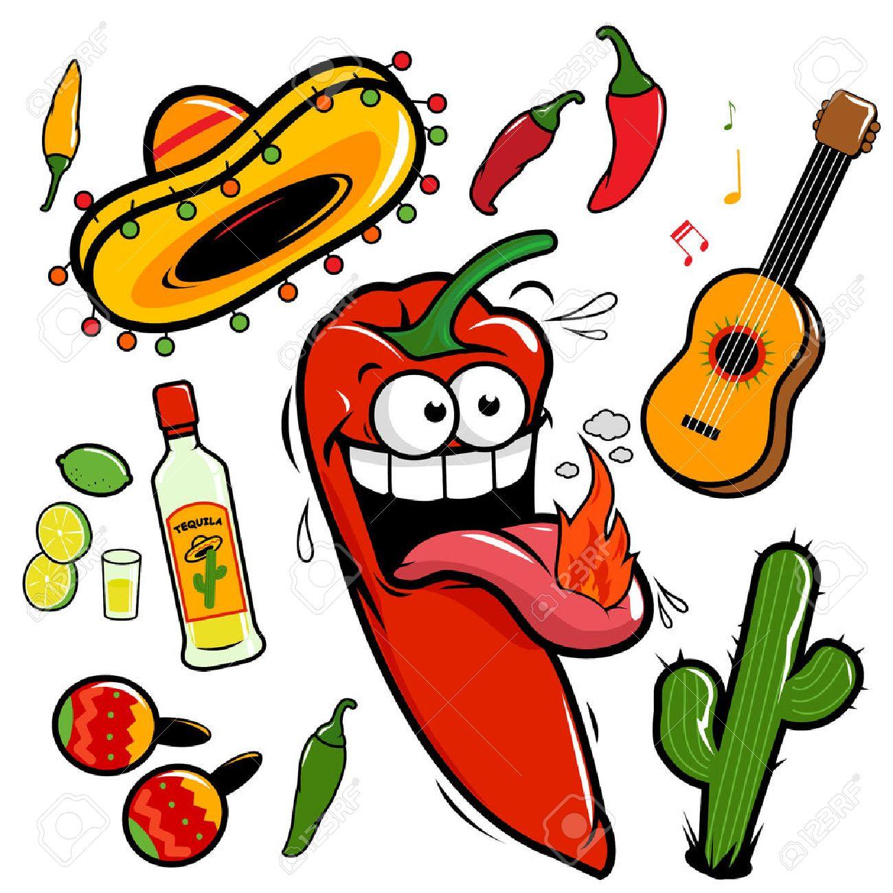 Mariachi chili pepper Mexican vector set.